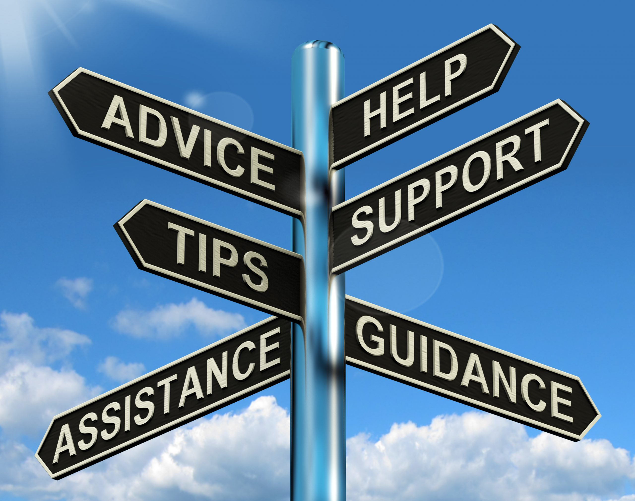 Sacramento Help Support And Tips Signpost Showing Information And Guidance